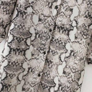 Image 5 - Vadim 여성 뱀 인쇄 발목 길이 드레스 주머니 긴 소매 분할 pleated 여성 캐주얼 세련된 드레스 vestidos qa502