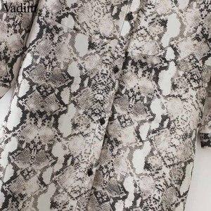 Image 5 - فستان نسائي بطول الكاحل مطبوع على شكل ثعبان من Vadim بجيوب وأكمام طويلة وفتحة مطوي فساتين أنيقة غير رسمية للنساء vestidos QA502