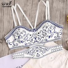 Dotfashion Vintage Cut Out Cami Top Women White Porcelain Print Strappy Zip Back Summer Tops 2017 New Sexy Boho Elegant Camisole