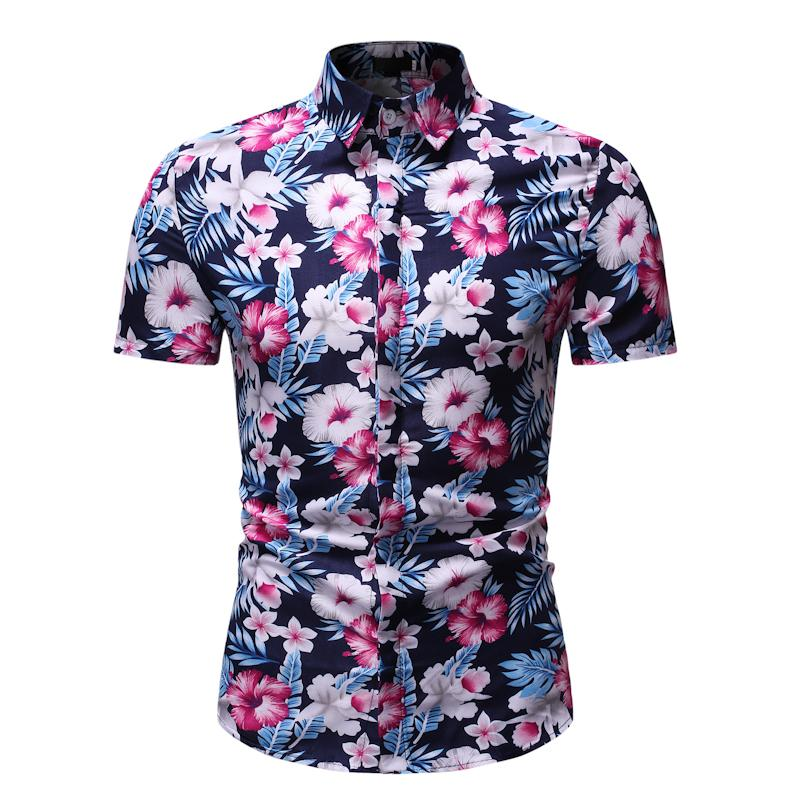 Summer Dress Shirt Men Flower Short Sleeve Hawaiian Style Social Shirt For Men Casual Floral Blouse Men