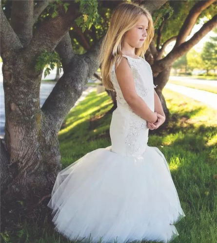 Lovely white Lace Mermaid Flower Girls Dresses for Kids Weddings Pageant Gowns