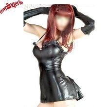 Ruffled Cup Women Bandage Dress Women's PU Dress Leather Short Camisole Bodycon Clubwear Mini Dress Black Vestidos M,L,XL,XXL
