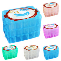 Lovely Pet New Three layers of 30 Grids Clear Plastic Craft Beads Jewellery Storage Compartment Box Drop Shipping 70726