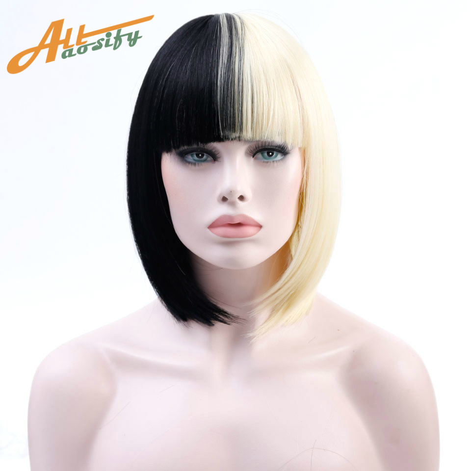 Allaosify Short Bob Wigs For Women Blonde Short Synthetic Wigs For White Women Heat Resistant Fake Hairpieces