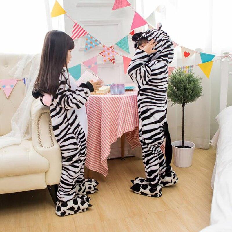 Kid Zebra Cosplay Kigurumi Onesies Children Cartoon Anime Jumpsuit Costume For Girl Boy Cute Animal Disguise Sleepwear Pajamas in Blanket Sleepers from Mother Kids