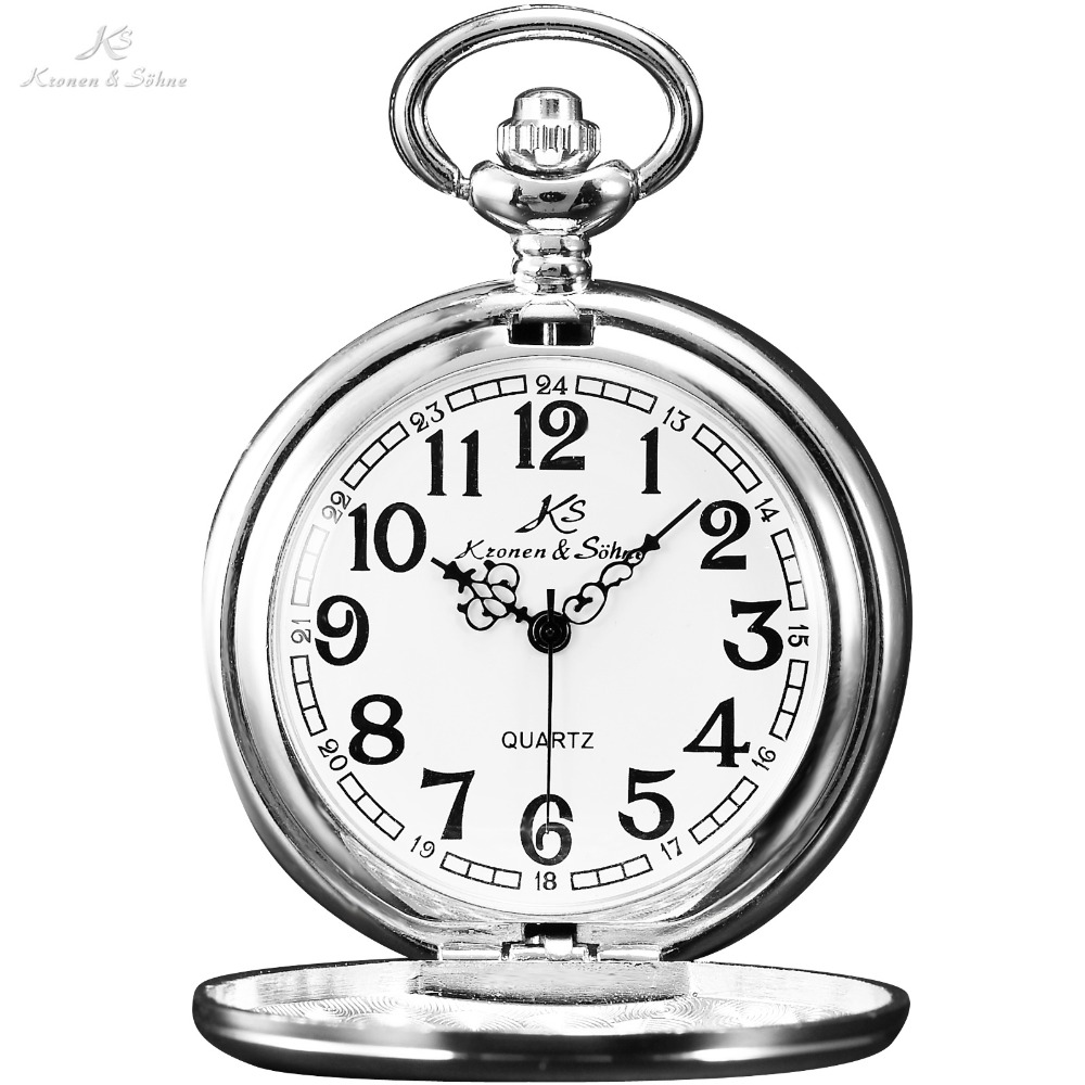 KS Vintage Retro Steel Silver Case White Dial Analog Quartz Relogio Necklace Copper Key Pendant Chain Men Pocket Watch / KSP002 classic smooth white round dial men s quartz pocket watch key chain design 88 bs88