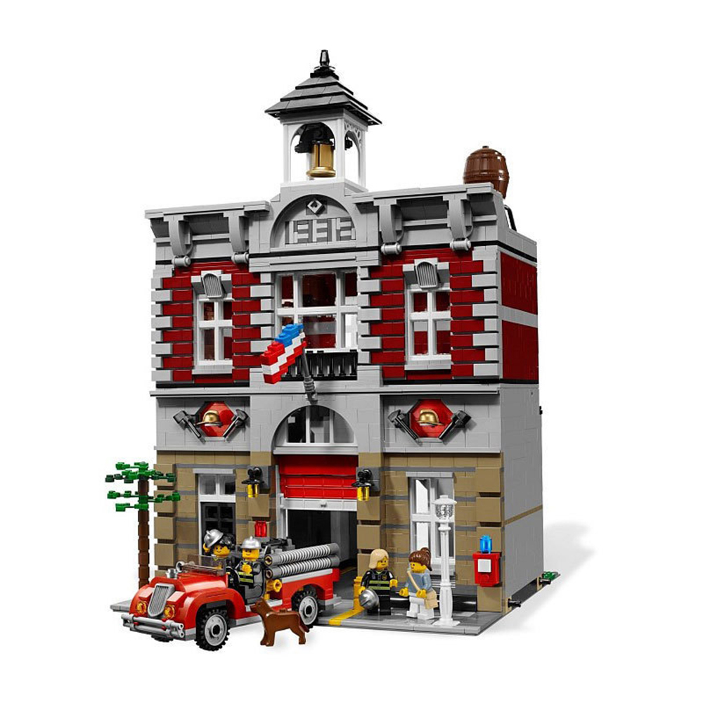 2313Pcs City Street Creator Fire Brigade Lepines brick figure 15004 Model Doll House Building Kits Blocks Compatible 10197 lepin 15004 2313pcs city creator series fire brigade model building blocks bricks toys for children gift compatible 10197