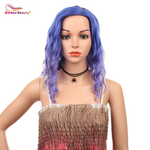 16inch Wavy Bob Wig Blue Hair Cosplay Wig Heat Resistant Synthetic Hair Shoulder Length Short Bob Wigs for Women Golden Beauty недорого