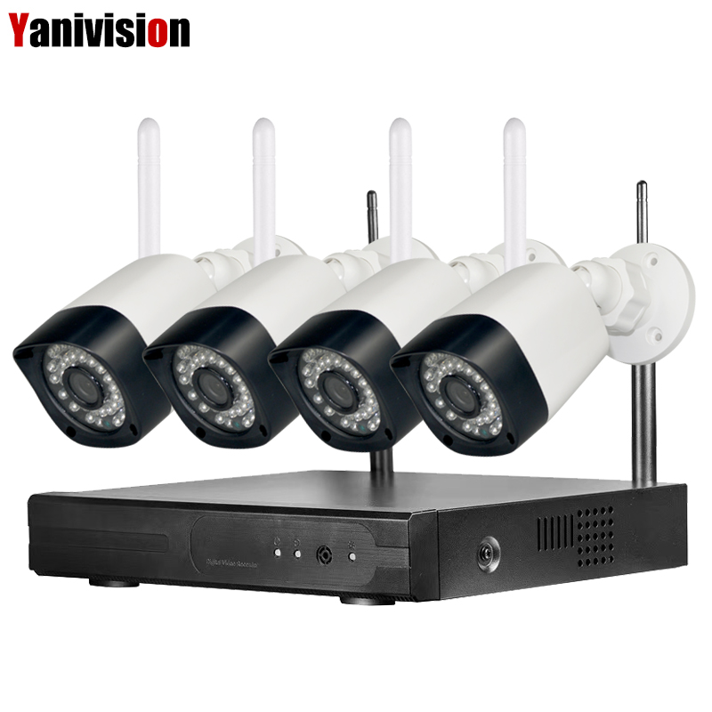 4CH Audio WiFi NVR Kit CCTV Security Camera System 4CH 960P Wireless NVR Kit Home WIFI Surveillance Outdoor IP Camera Waterproof