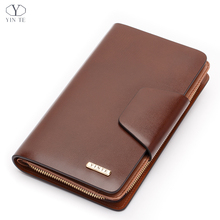 YINTE Men's Clutch Wallet Leather Wallet Men Famous Brand England Style Clutch Bag Passport Purse Card Holder Wrist Bags T2580-1