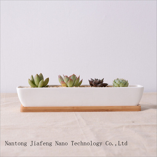 Modern White Ship Shape Ceramic Planter With Bamboo Tray Simple Succulent Pots Flowerpot Bonsai Plants Garden Supplies