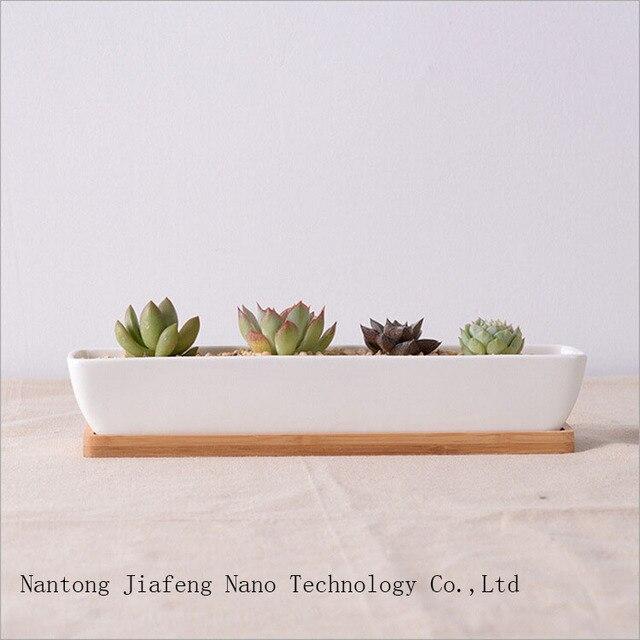 moderne wei schiff form keramik pflanzer mit bambus fach einfache sukkulenten tpfe keramik blumentopf bonsai garten - Moderne Garten Mit Bambus