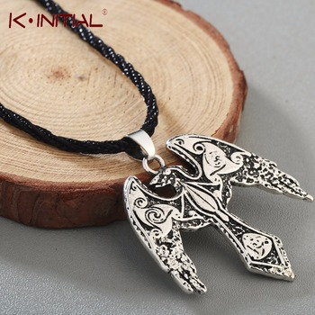 Kinitial Norse Viking Odin's Ravens Pendant Necklace Raven Triskelion Symbol Charm Animal Bird Necklaces Statement Runes Jewelry image