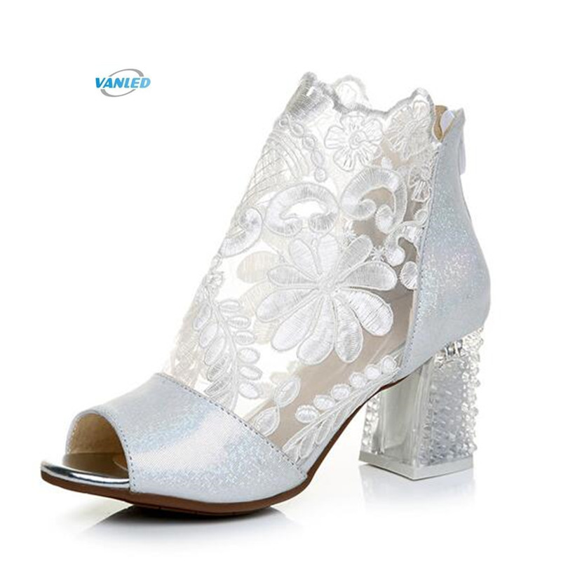 2018 New Summer Lace Embroidery Real Leather Shoes Woman Fashion Sandals Cool Boots High Heels Women Sandals Shoes Size 33-42 new fashion boots summer cool