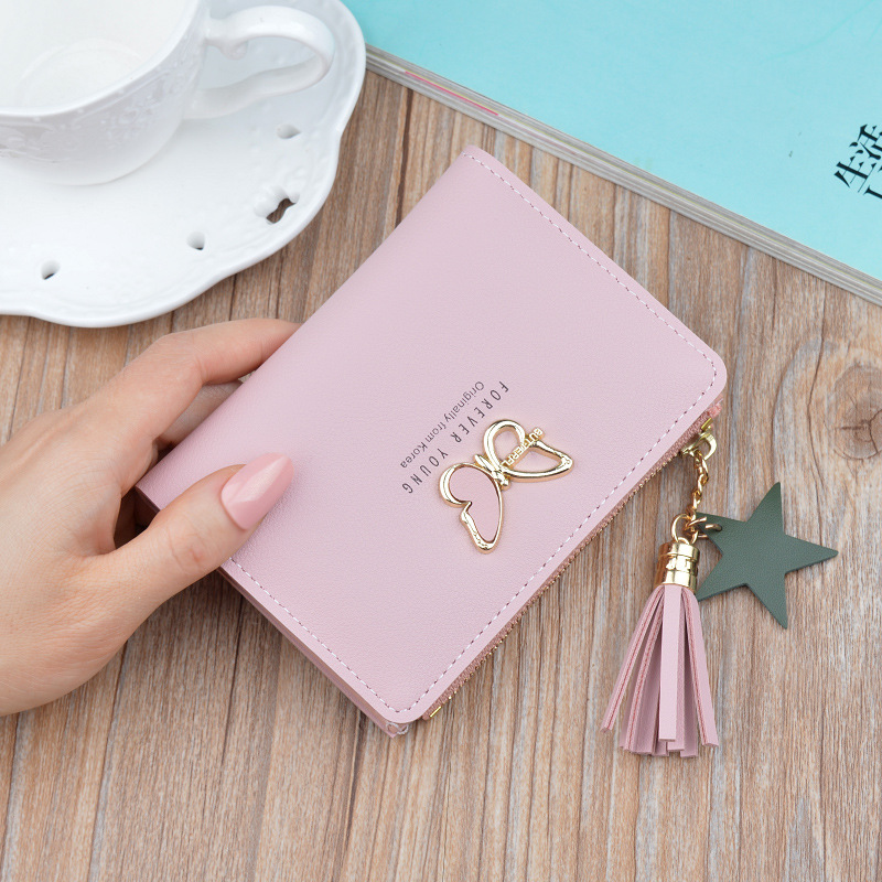 Women's Wallets Small Mini Safe Money Bag Female Short Butterfly Fringed Zipper Purse Credit Card Holder Coin Purse Carteira