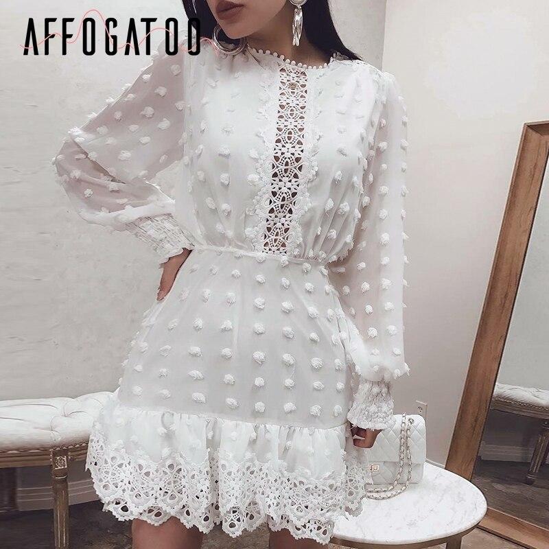 Affogatoo Elegant Polka Dot Lace Chiffon White Dress Women Long Sleeve Vintage Short Dresses Female Evening Party Dress Vestidos
