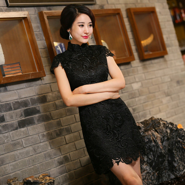 New Arrival Chinese Tradition Mandarin Collar Women's Lace Embroidery Mini Cheong-sam Qipao S M L XL XXL TZM2015014