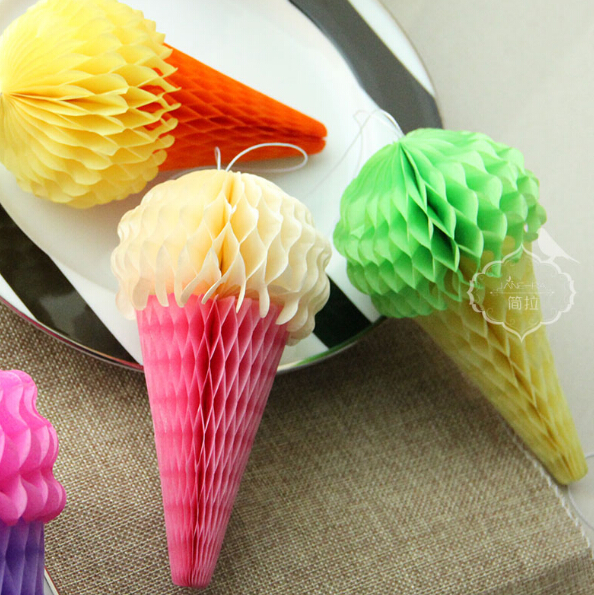 Free Shipping 10PCS/LOT 20cm Lovely Icecream Honeycomb Party Wedding Shower Decoration 6 Color Available