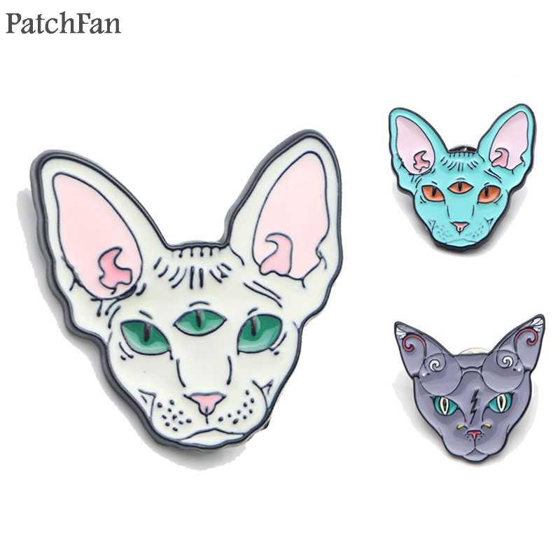 Patchfan Sphynx Kucing Seng Dasi Kartun Lucu Pin Ransel Pakaian Bros untuk Pria Wanita Topi Dekorasi Lencana Medali A1365