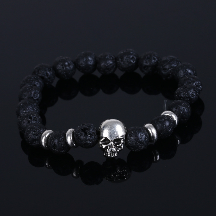 8mm Black Natural Stone Bead Skull
