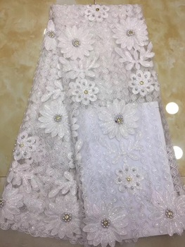 5 Yards African Material Lace Flowers Chiffon Material French Net Lace Fabric, 3D Applique Wedding Dresses Lace