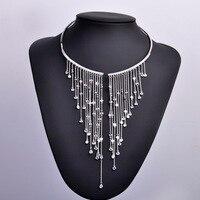 Gypsy Luxury Zircon Women Torques Choker Necklace With Long Tassel Pendant 18k Gold Rhodium Beads Weeding