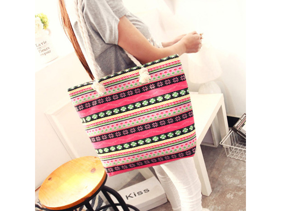 Women Handbag Canvas Totes Women Shoulder Bag Large Capacity Printing Minimalist National Style New Feminima Bolsas Casual