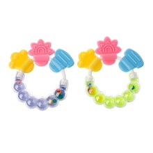 1Pc Baby Toddler Teether Chew Toy Molar Rod Silicone Handbell Jingle Design Baby Gift недорого