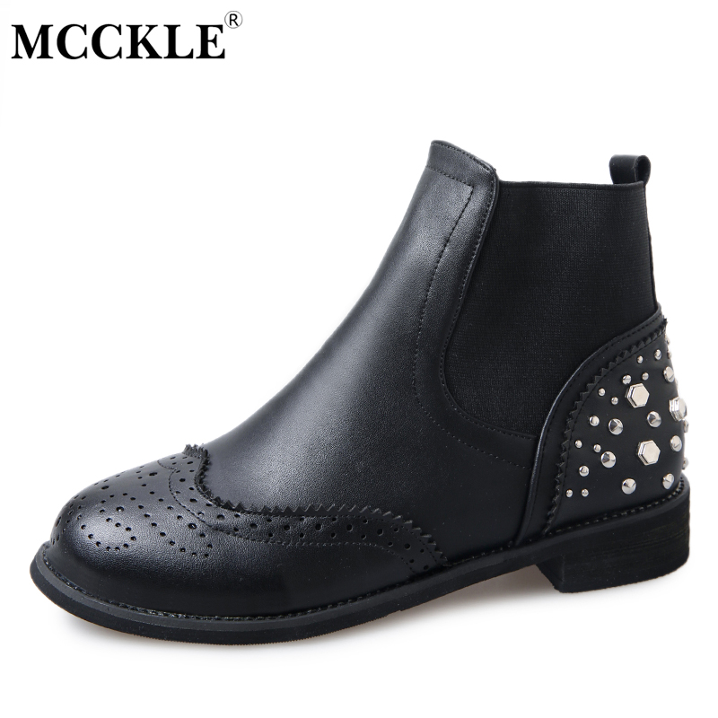 MCCKLE Women's Slip On Fashion Rivets Elastic Band Ankle Boots Ladies Thick Heel Spring Autumn Style Casual Black Martin Boots mcckle women s lace up rivets buckle ankle martin boots ladies fashion thick heel platform high quality leather autumn shoes