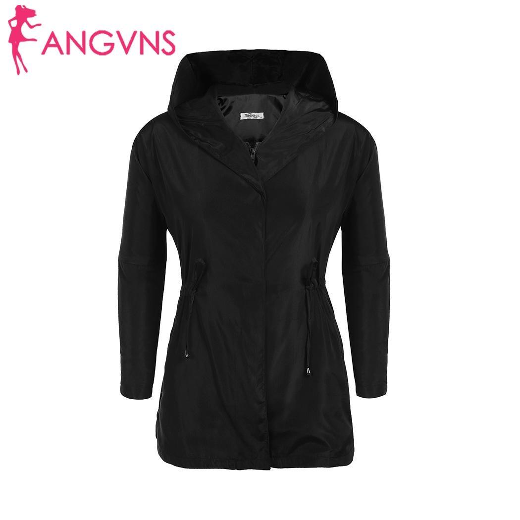 Long Spring Drawstring Zipper Pocket Full Autumn Zipper Coat Drawstring Jacket Button Up Sleeve Women Solid Hooded Casual Waist
