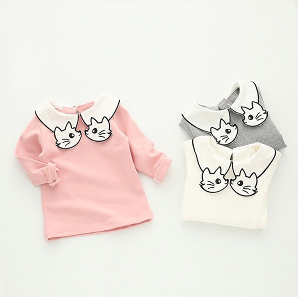 2017 Long Sleeve White Cat Turn Down Collar T-shirt for Girl 100% Cotton T Shirts Toddler Girl Shirts Kids Tshirts