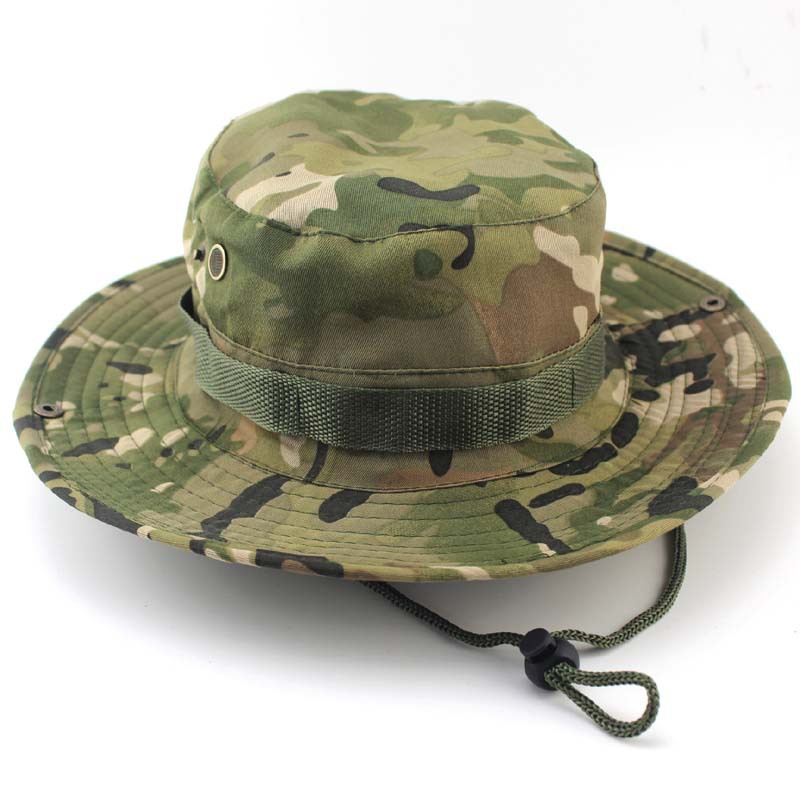 Outdoor Bucket Hattar Man Jungle Militär Camouflage Bob Camo Bonnie Hat Camping Grill Bomull Mountain Climbing Fishing Caps