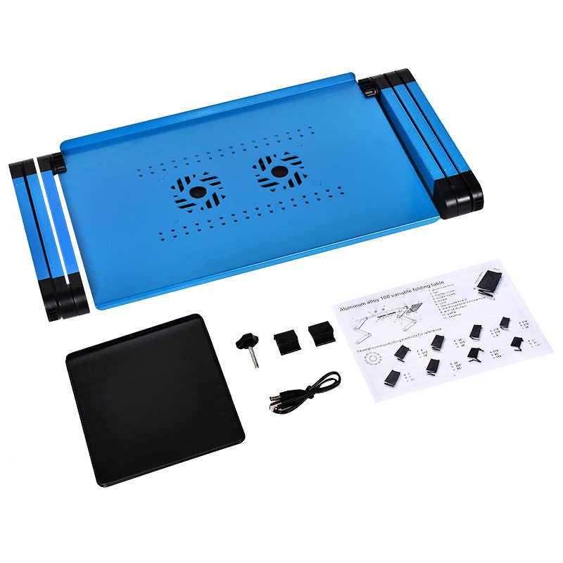 Bilgisayar masası taşınabilir ayarlanabilir katlanabilir dizüstü bilgisayar katlanır masa standı yatak kanepe tepsisi 2 soğutucu fanlar dizüstü bilgisayar masası
