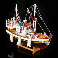 Exquisite Wooden Fishing Smack Miniature Marine Wood Fishing Boat Scale Model Decor Gift Craft Ornament Accessories Furnishing