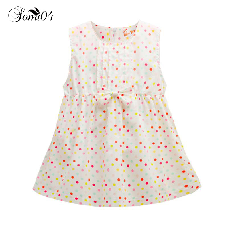 New 0-2 Years Summer Baby Girl Dresses 2018 Infant Sleeveless Fruit Polka Dots 1 Year Birthday Cotton Baby Girls Clothes Dress