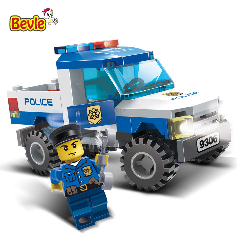 Gudi 9306 84Pcs City Police Series Truck Car Figures Assembled Model Building Blocks Compatible with Legoings City Toys gudi city police truck car blocks toys assembled model building kits blocks toys christmas gift toys for children boys 9306