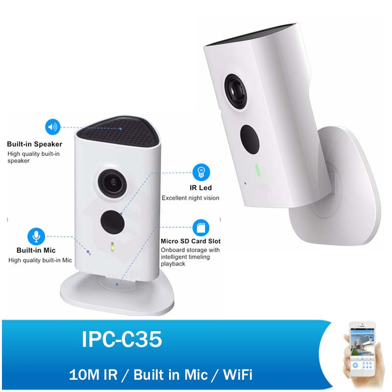 DH 3MP WiFi PT Camera IPC-C35 1080P Indoor Security Network Mini Camera Baby Monitor Built-in Mic & Speaker newest dahua 3mp wifi ip camera dh ipc c35p hd 1080p security camera support sd card up to 128gb built in mic english version