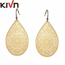 KIVN Fashion Jewelry BOHO Smooth Dangle Drop Filigree Gold Bridal Wedding Earrings Mothers Day Girls Christmas Birthday Gifts