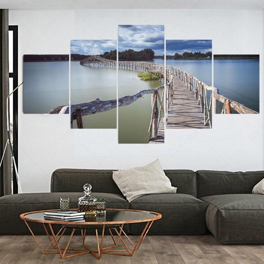 unidades modernas sin marco lienzo de arte pintura al leo de madera puente