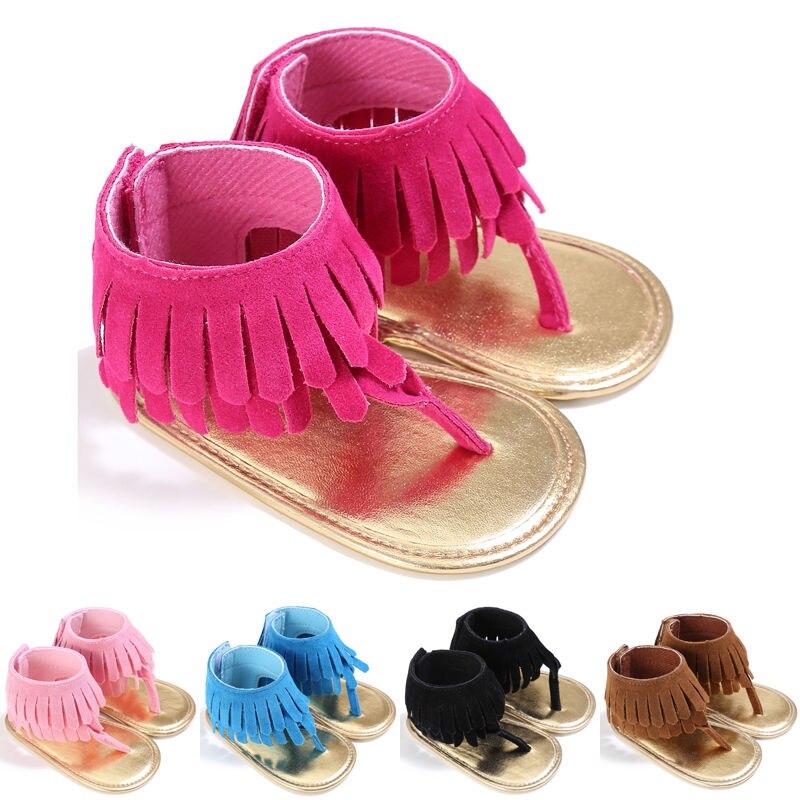 Summer Baby Girls Kids Tassel Sandals Tassel Princess Crib Shoes Soft Sole Prewalkers