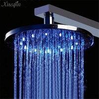 Mrosaa Bathroom Led Shower Head Chrome Polished Brass 8 Inch G1/2 RGB Temperature Sensor 3 Color Changing Rainfall Showerhead