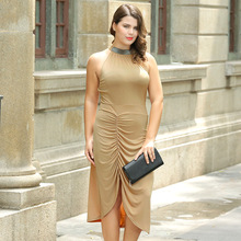2017 Fashion New Summer Women Dress Sleeveless Casual Halter Slim Solid Sexy Long Dresses Plus Size Women's Clothing