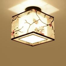 New LED Ceiling Lights Chinese Traditional Style Ceiling Lamp Modern Fabric Shade Corridor Balcony Bedroom Decoration Lamps S3