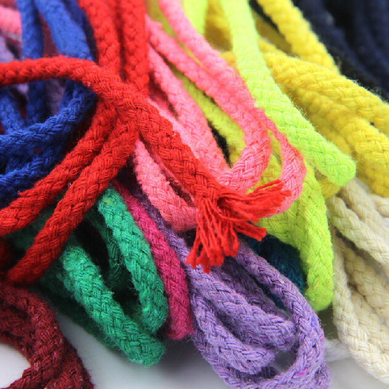5 6MM Handmade Braided Cotton Rope Colored Decorative Drawstring Cord For DIY Craft 20Meters/lot ...