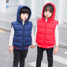Winter Hooded Child Waistcoat Children Outerwear Thicken Fleece Coats Warm Cotton Filler Baby Girls Boys Vest For 100-160cm(China)