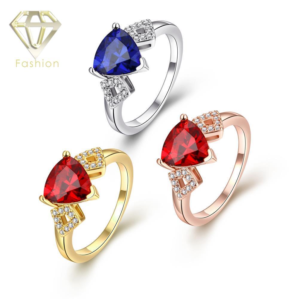 d11824b17e8b2 Compra Anel De Noivado Online Romântico Ouro Rosa-ouro Branco-Cor do ouro  com Red Blue Crystal e Cubic Zircon Anéis Jóias