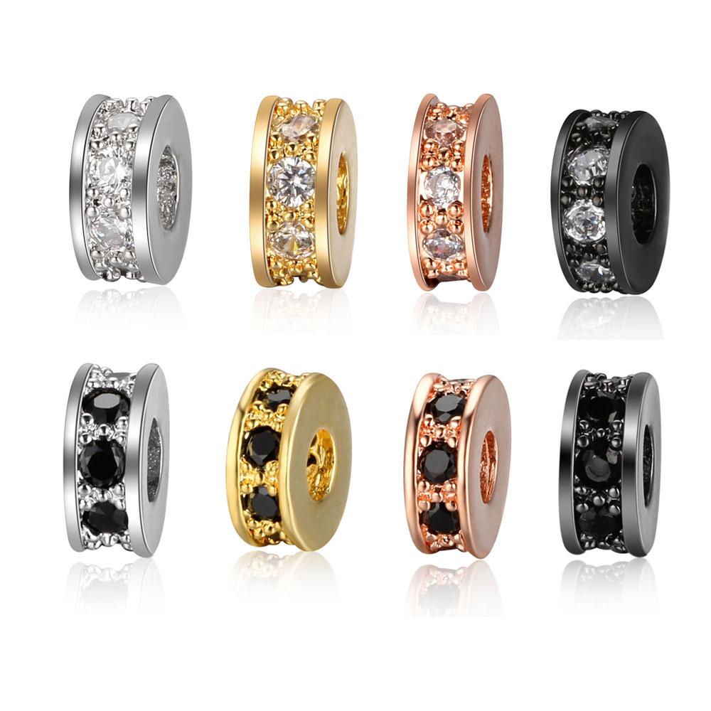 3pcs/lot CZ Basic Spacer Beads DIY Metal Bead Brass Micro Pave Zircon Charm for Men Jewelry Bracelet Wholesale VNISTAR
