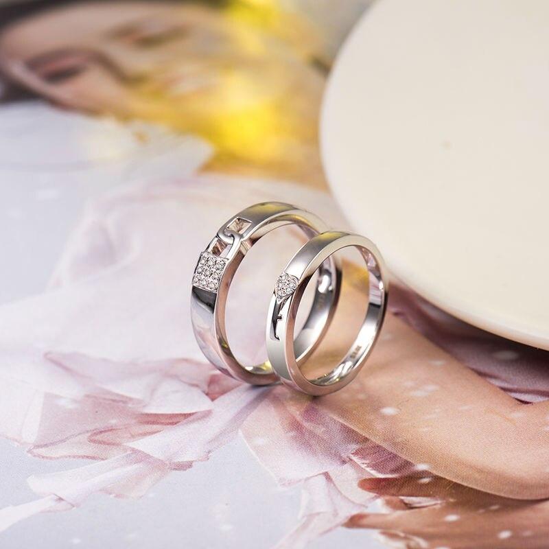Loverjewelry, хит продаж, обручальные кольца для пар, замок и ключ, любовь, одноцветное, 18 К, белое золото, бриллиант, обручальное, юбилейное кольцо - 4