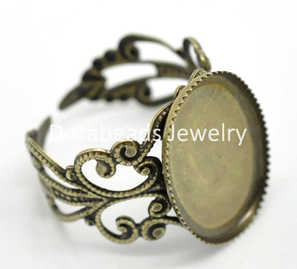 Antique Bronze Flower Adjustable Oval Cabochon Setting Rings 18.3mm US 8(Fit 18x13mm),20PCs (B15779)