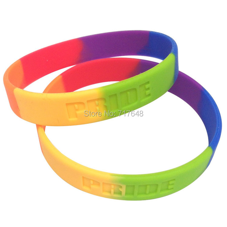 300pcs Segmented Gay Pride wristband silicone bracelets free shipping by FEDEX